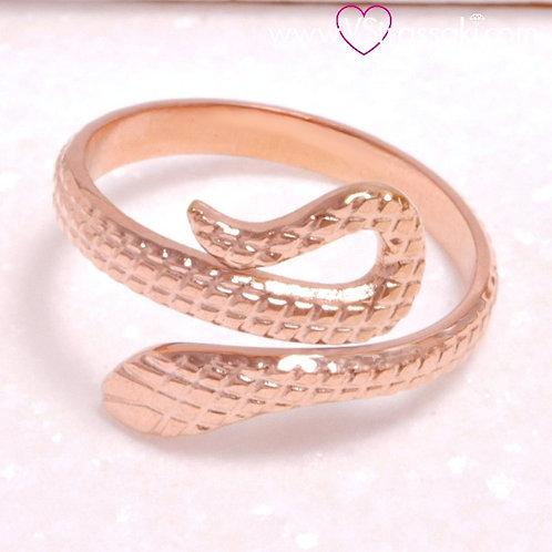 Ατσάλινο Δαχτυλίδι Φίδι Ροζ Χρυσό 2192