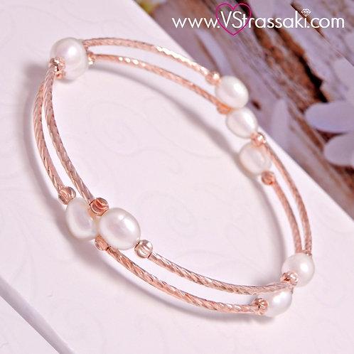 Βραχιόλι Χειροπέδα από Ορείχαλκο Twisted Bracelet Ροζ Χρυσό 6057
