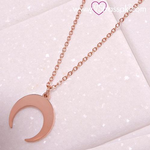 Ατσάλινο Κοντό Κολιέ Με Φεγγάρι Ροζ Χρυσό 4284