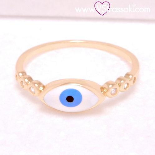 Ατσάλινο Δαχτυλίδι με Μάτι και Στρας Χρυσό 2225