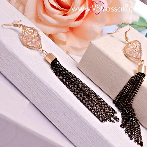 Σκουλαρίκια Μακριά 12.5cm Chain Tassel Earrings Χρυσό Μαύρο 3161