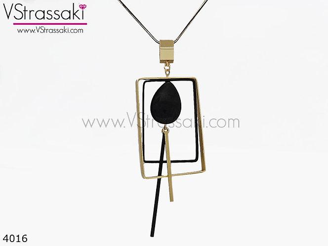 Κολιέ Με Γεωμετρικά Στοιχεία BlackDrop Χρυσό Μαύρο 4016