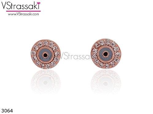Σκουλαρίκια Καρφωτά 0.5cm LightBlueEyes Ροζ Χρυσό Με Καρφάκι Από 925 Ασήμι 3064