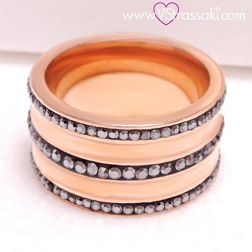 Ατσάλινο Δαχτυλίδι Με Γκρι Στρας Ροζ Χρυσό 2201