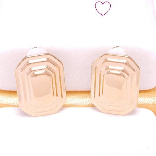 Ατσάλινα Σκουλαρίκια Ορθογώνια με Κλιπ 1.4*1.8cm Χρυσό 3269