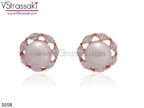 Σκουλαρίκια Καρφωτά 1.2cm PearlRound Ροζ Χρυσό Με Καρφάκι Από 925 Ασήμι 3058
