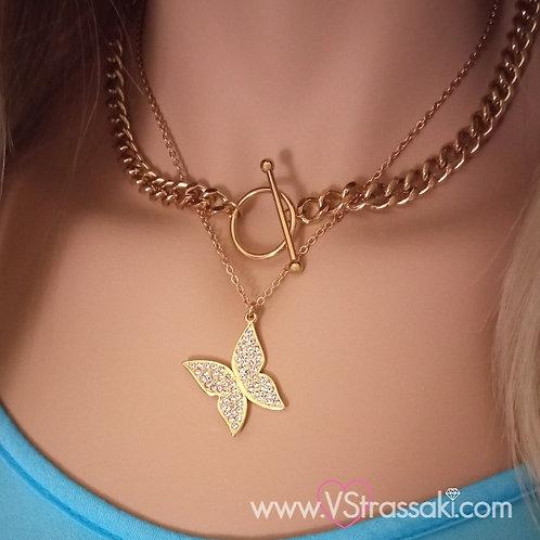 Κολιέ με Ατσάλινη Χοντρή Χρυσή Αλυσίδα και Ατσάλινο Χρυσό Κολιέ με Πεταλούδα