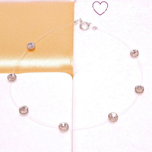Βραχιόλι με Χρυσαφί Κρυσταλλάκια Swarovski και Κούμπωμα 925 Aσήμι 6184
