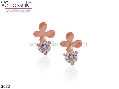 Σκουλαρίκια Καρφωτά 0.8cm ButterflyDream Ροζ Χρυσό Από 925 Ασήμι 3082