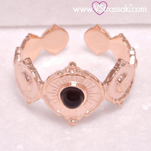Ατσάλινο Δαχτυλίδι Σφυρήλατο με Μάτι Ροζ Χρυσό 2249