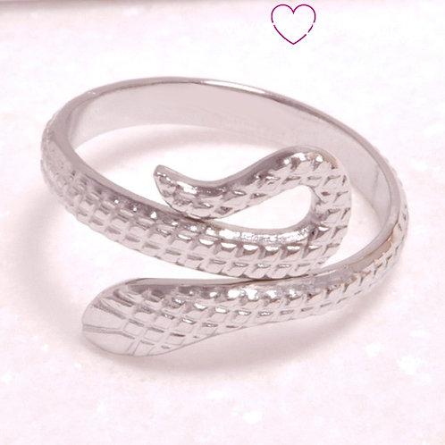 Ατσάλινο Δαχτυλίδι Φίδι Ασημί 2190