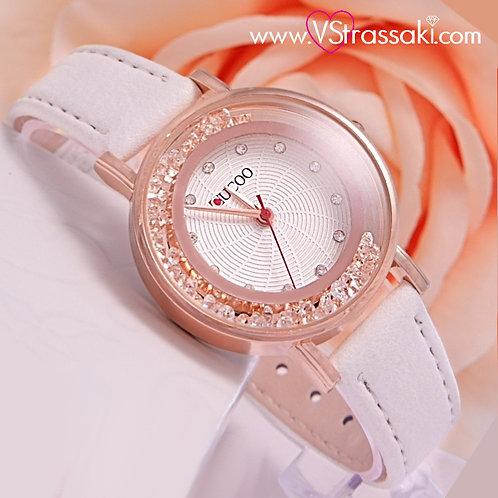 Γυναικείο Ρολόι CUCOO Με Λουράκι Δερματίνη SpringTime Ροζ Χρυσό 5010