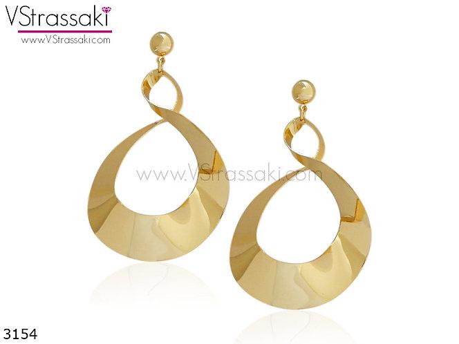 Σκουλαρίκια Μακριά 7cm TwistedLoops Χρυσό 3154