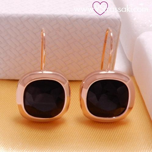 Ατσάλινα Σκουλαρίκια Με Μαύρο Κρύσταλλο Κοντά 2.8cm Ροζ Χρυσό 3222