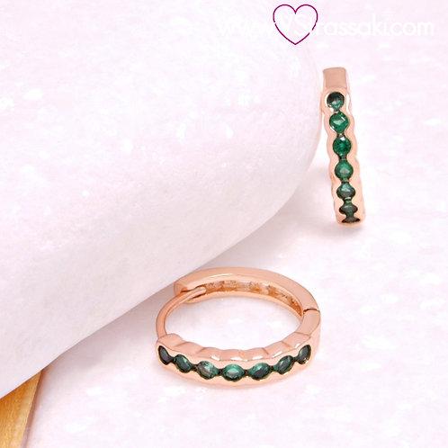 Σκουλαρίκια Κρικάκια Κοντά 1.2cm με Πράσινο Χρώμα Ζιργκόνια Ροζ Χρυσό 3323