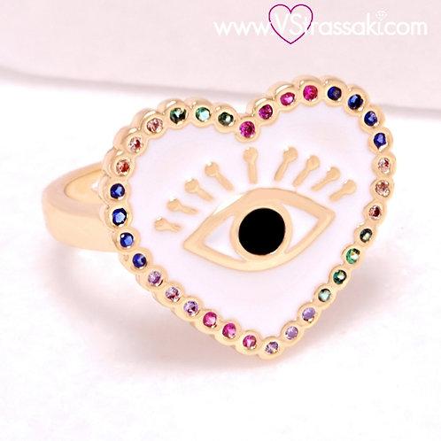 Ατσάλινο Δαχτυλίδι με Καρδιά και Μάτι από Σμάλτο Χρυσό 2237