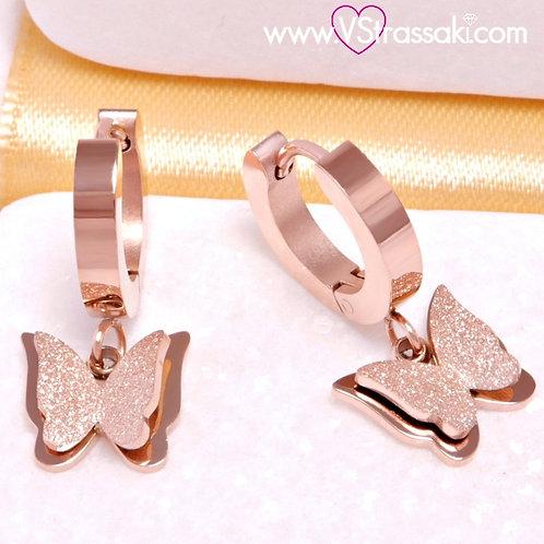 Ατσάλινα Σκουλαρίκια Πεταλούδες Κοντά 2cm Ροζ Χρυσό 3257