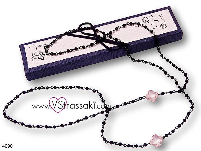 Κολιέ Με Σταυρούς Και Αλυσίδα Ροζάριο CrossNecklace Ροζ Χρυσό Μαύρο 4090