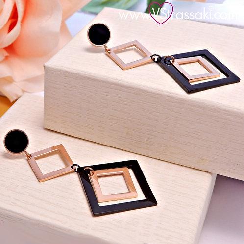Σκουλαρίκια Μακριά 6cm Steel Earrings Από Ανοξείδωτο Ατσάλι Ροζ Χρυσό 3164