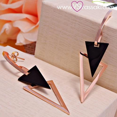 Σκουλαρίκια Μακριά 6.5cm Steel Earrings Από Ανοξείδωτο Ατσάλι Ροζ Χρυσό 3167