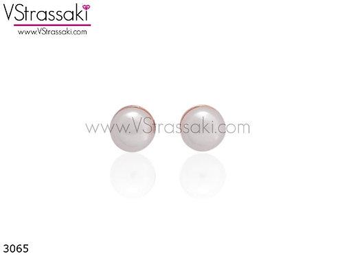 Σκουλαρίκια Καρφωτά 0.4cm WhitePearls Ροζ Χρυσό Με Καρφάκι Από 925 Ασήμι 3065