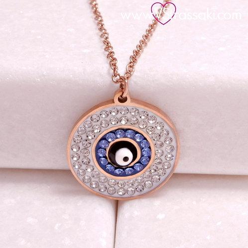 Ατσάλινο Κοντό Κολιέ Με Μάτι Ροζ Χρυσό 4315