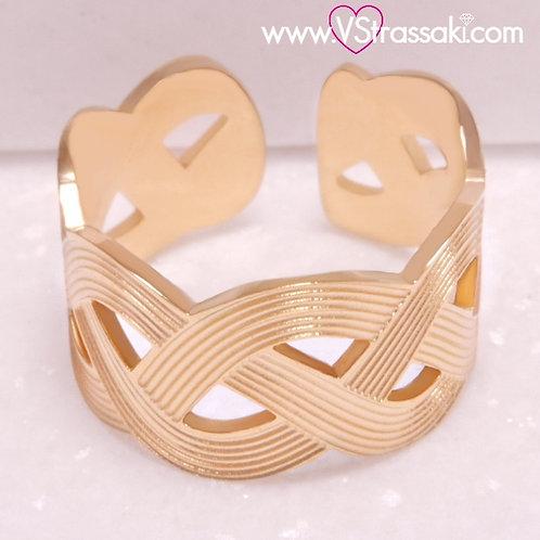 Ατσάλινο Δαχτυλίδι Σφυρήλατο Πλεξούδα Χρυσό 2209