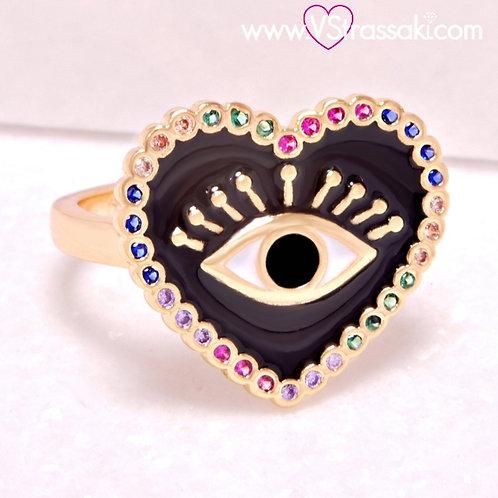 Ατσάλινο Δαχτυλίδι με Καρδιά και Μάτι από Σμάλτο Χρυσό 2233