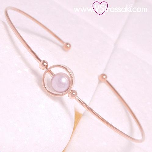 Βραχιόλι Χειροπέδα με Πέρλα από Ορείχαλκο Slim Bracelet Ροζ Χρυσό 6362