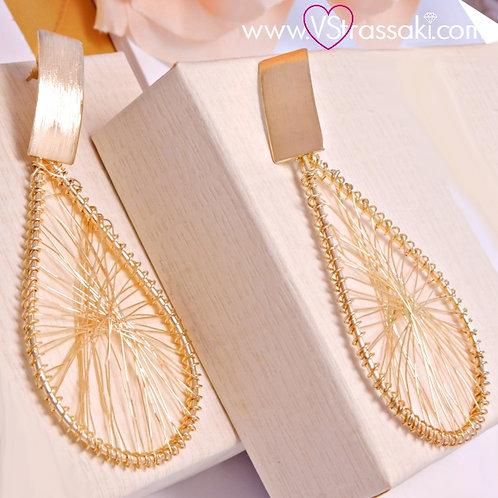 Σκουλαρίκια Μακριά 8.5cm HoopEarrings Χρυσό 3162