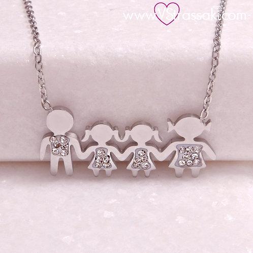 Ατσάλινο Κοντό Κολιέ Οικογένεια με Δύο Κορίτσια Ασημί 4293