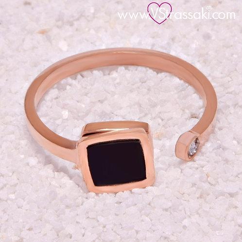 Ατσάλινο Δαχτυλίδι με Τετράγωνο Γεωμετρικό Σχέδιο Ροζ Χρυσό, Μαύρο 2129