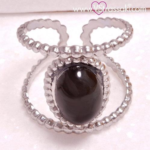 Ατσάλινο Δαχτυλίδι με Μαύρη Πέρλα, Ασημί 2189