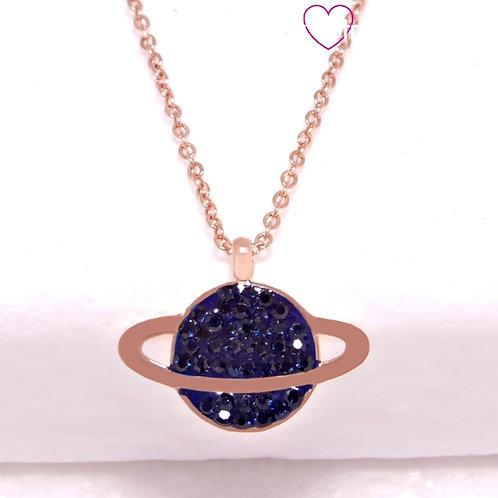 Ατσάλινο Κοντό Κολιέ με τον Πλανήτη Κρόνο με Μπλε Ζιργκόν Ροζ Χρυσό 4358