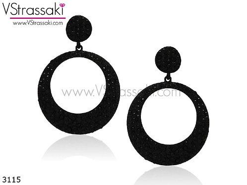 Σκουλαρίκια Μακριά 6.5cm BlackHoops Μαύρο 3115