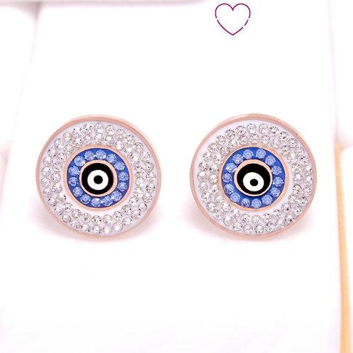 Ατσάλινα Σκουλαρίκια με Μάτι από Ζιργκόν 1.6cm Ροζ Χρυσό 3230