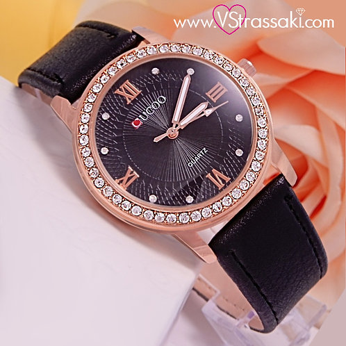 Γυναικείο Ρολόι CUCOO Με Λουράκι Δερματίνη DreamyTime Ροζ Χρυσό 5021