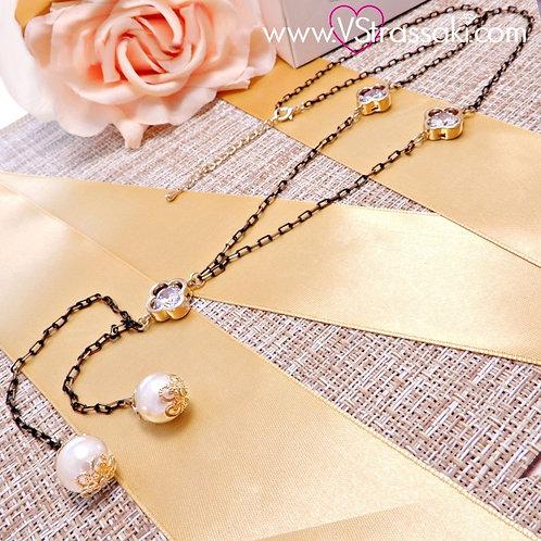 Κολιέ Με Σταυρούς Και Πέρλες CrossNecklace Χρυσό Μαύρο 4050