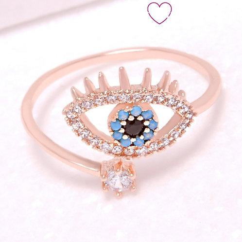 Ατσάλινο Δαχτυλίδι με Μάτι και Στρας Ροζ Χρυσό 2218