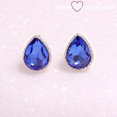 Ατσάλινα Σκουλαρίκια Καρφωτά  Δάκρυ με Μπλε Ζιργκόνια 1cm, Ασημί 3363
