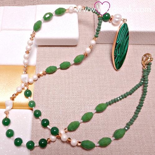 Μακρύ Κολιέ με Μαλαχίτη και Χάντρες Πράσινο, Ροζ Χρυσό 4274