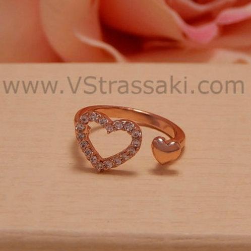 Γυναικείο Δαχτυλίδι Διπλή Καρδιά 1582