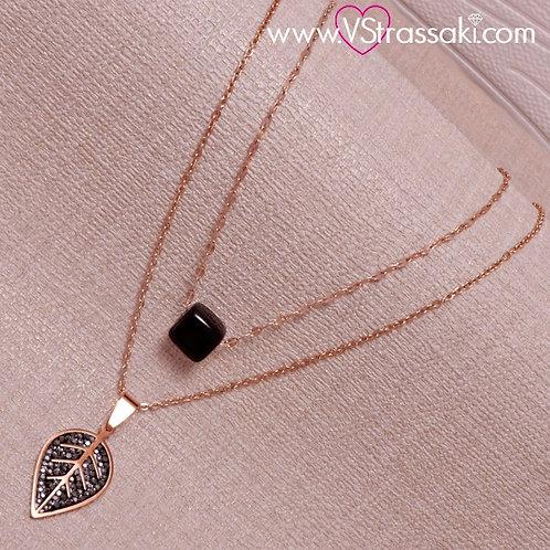 Σετ από 2 Ατσάλινα Κολιέ με Μαύρο Κύβο και Φύλλο, Ροζ Χρυσό 4243