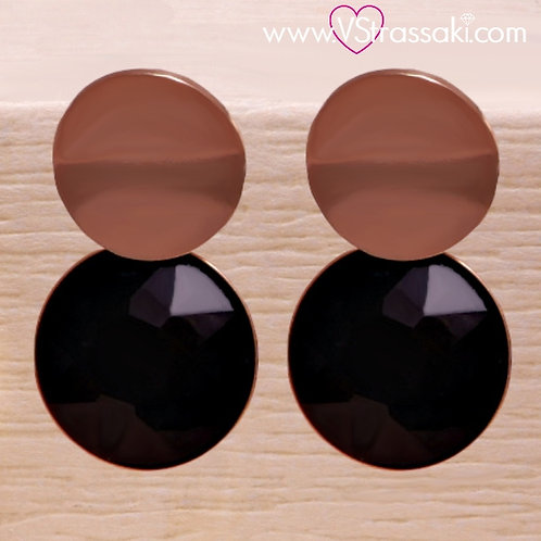 Ατσάλινα Σκουλαρίκια Κοντά 2.2cm με Μαύρο Κρύσταλλο Ροζ Χρυσό 3206