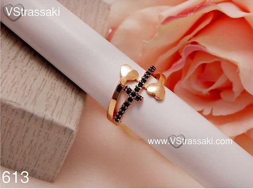 Δαχτυλίδι με Σταυρό και Καρδιές 613