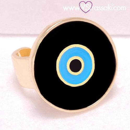Ατσάλινο Δαχτυλίδι με Μάτι από Σμάλτο Χρυσό 2235