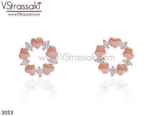 Σκουλαρίκια Καρφωτά 1cm HeartCrown Ροζ Χρυσό Με Καρφάκι Από 925 Ασήμι 3053