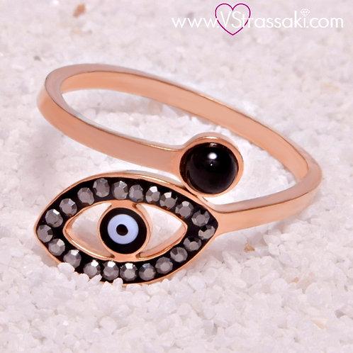 Ατσάλινο Δαχτυλίδι με Ματάκι Ροζ Χρυσό 2124