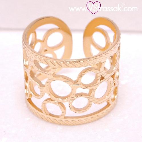 Ατσάλινο Δαχτυλίδι Σφυρήλατο με Κύκλους Χρυσό 2212
