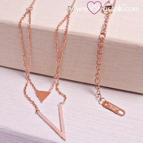 Μενταγιόν από Ανοξείδωτο Ατσάλι Steel Necklace Ροζ Χρυσό 4124